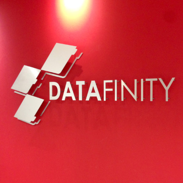 Box & Cut Lettering - Pin Mounted Brush Aluminium - DataFinity - Screenline